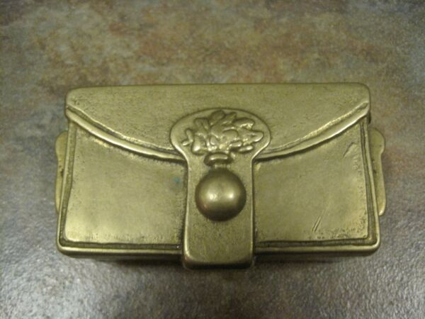 BRASS STAMP BOX  'SATCHEL' TWO COMPARTMENTS VINTAGE EUC