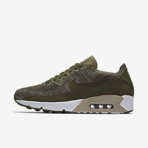 NIKE AIR MAX 90 ULTRA 2.0 FLYKNIT OLIVE GREEN WHITE MENS RUNNING 875943 200