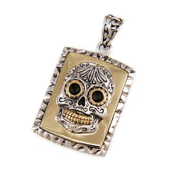 MEXICAN SUGAR SKULL DOG TAG 925 STERLING SILVER DAY OF THE DEAD PENDANT gb 100 $108.00