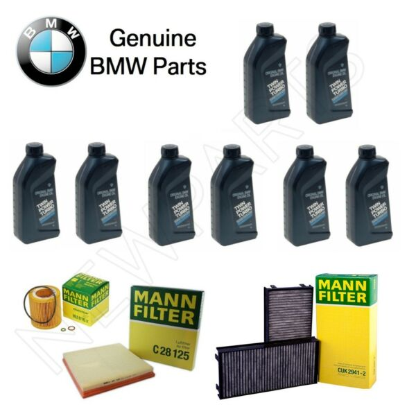 For BMW E70 X5 X6 Oil Air & Cabin Air Filter Kit w 8 Liters Engine Oil 5W-30