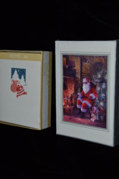 Christmas Greeting Cards SANTA CLAUS Glitter Petite Fireplace 36 Cards Lot of 2