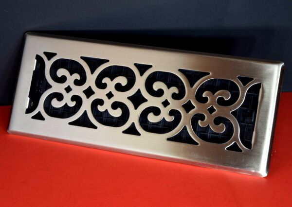 Decor-Grates-Floor-Register-Air-Vent-Scroll Plated Nickel 4 x 14