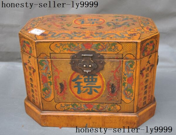 China lacquerware wood carved dynasty Dragon Text Send under escort  box crate