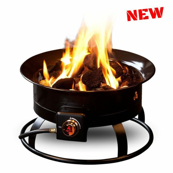 Portable Gas Fireplace Heater LP Propane Outdoor Camping Fire Pit Bowl Kit Rocks