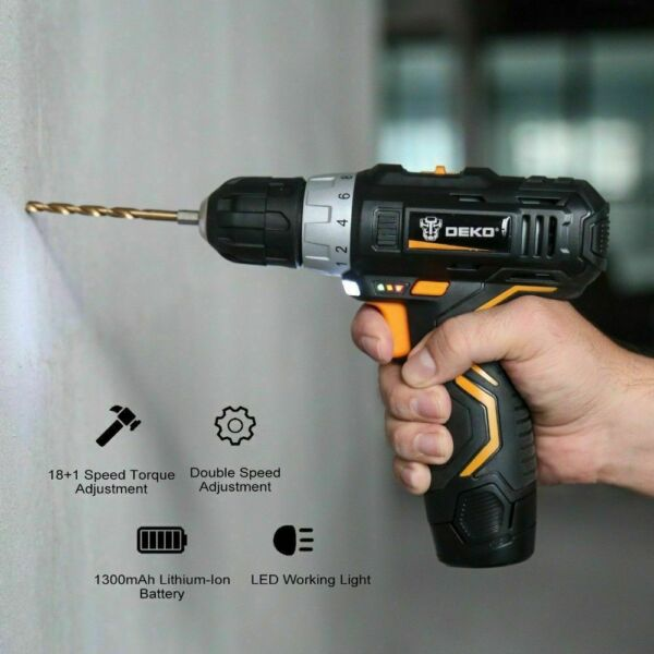 DEKO 10.8V DC Household Lithium-Ion Battery Cordless Drill Driver Power Tools