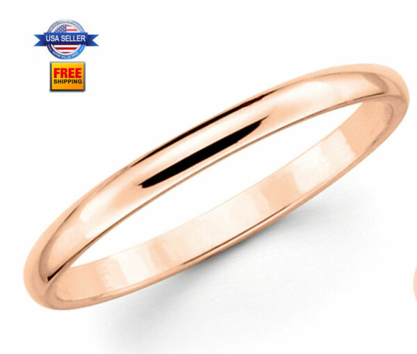 Thin Rose Gold Plated Stainless steel 2mm Wedding Band Ring Size 5-12
