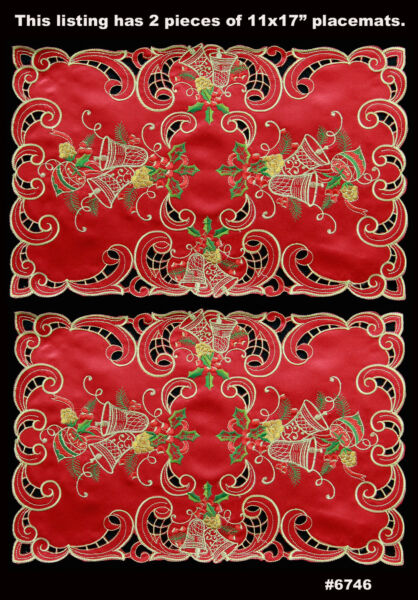 Holiday Christmas Bell Ornament Placemats Table Cloth Runner Mantel Scarf Red