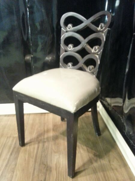 Steven Shell Lewis Dining Chair Black Distressed w Linen Bottom (Seat of 6)