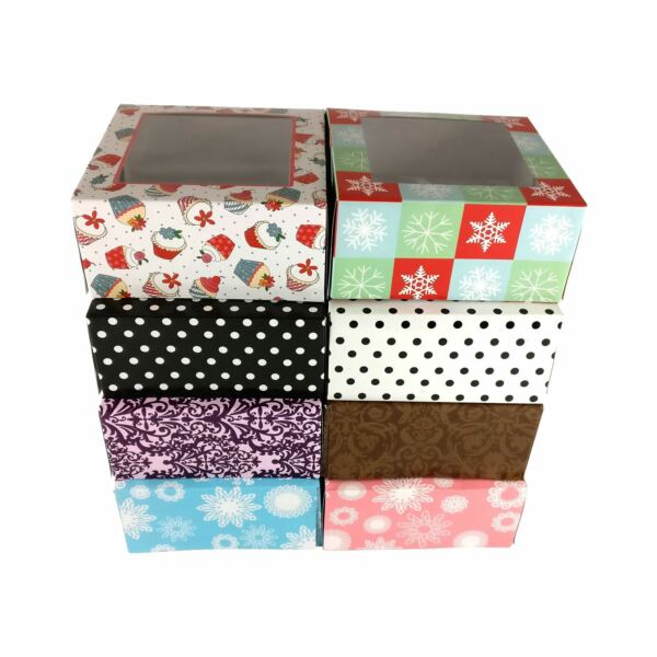 Funky Printed Cupcake Boxes 4 Hole Gift Box Craft Xmas Wedding Cake