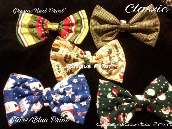 LUXURY Dog Collar Bows Bow tie Holiday Christmas Hand Made in USA Large dogs $18.99
