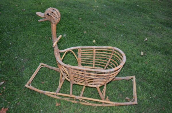 bentwood wicker rattan childs goose rocking horse-antique photo prop-baby gift