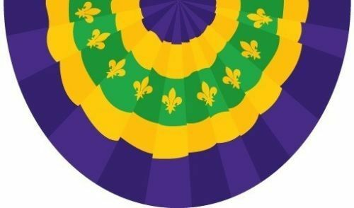 Mardi Gras Bunting Flag 3x5 ft New Orleans Purple Yellow Green Party Decoration