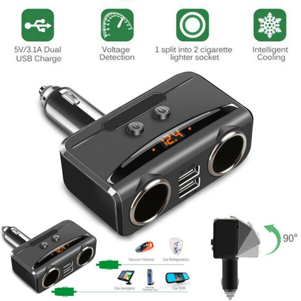 2-in1 Car Cigarette Lighter Socket Splitter 12/24V Dual USB Port Charger Adapter