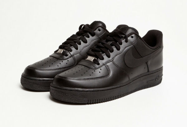 NIKE Air Force 1 '07 Men's Low Casual Black/Black Leather Shoes New