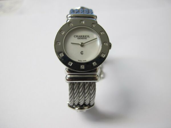 CHARRIOL ST TROPEZ STERLING SILVER WATCH WITH MOTHER OF PEARL DIAL AND DIAMONDS