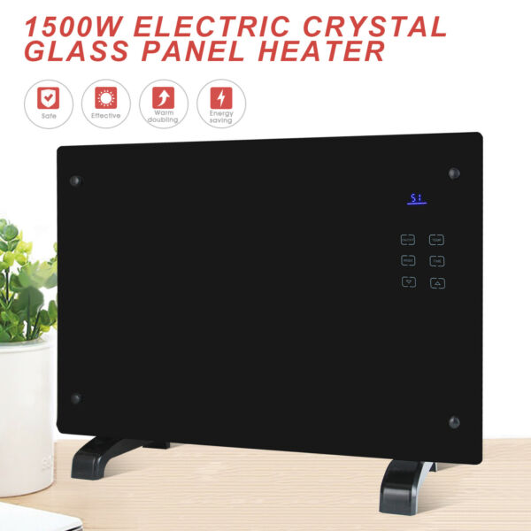 1500W Electric Panel Heater Glass Flat Convector wRC Wall Mount