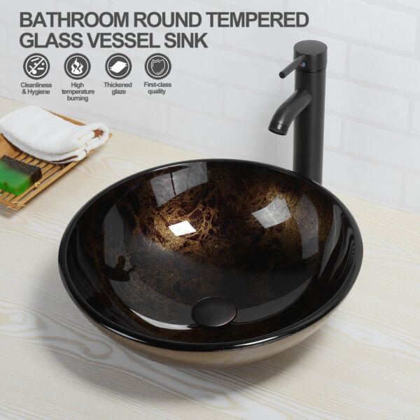 Round Artistic Tempered Glass Vessel Sink Faucet Pop Up Drain Bathroom