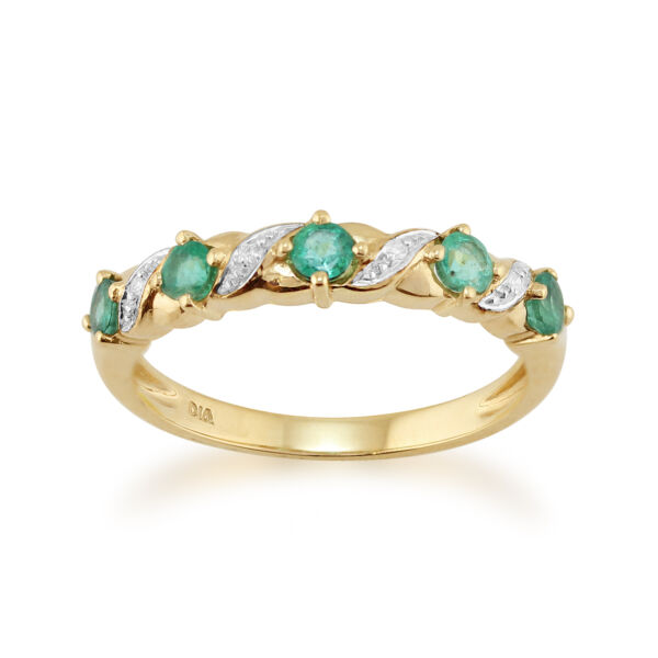 9ct Yellow Gold 0.44ct Natural Emerald & Diamond Half Eternity Ring Size