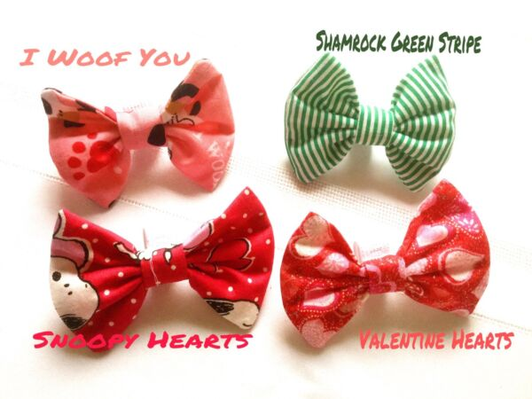 LUXURY Dog Collar Bows Bow tie St Pat#x27;s Valentine#x27;s Day Handmade USA Small dog $11.99
