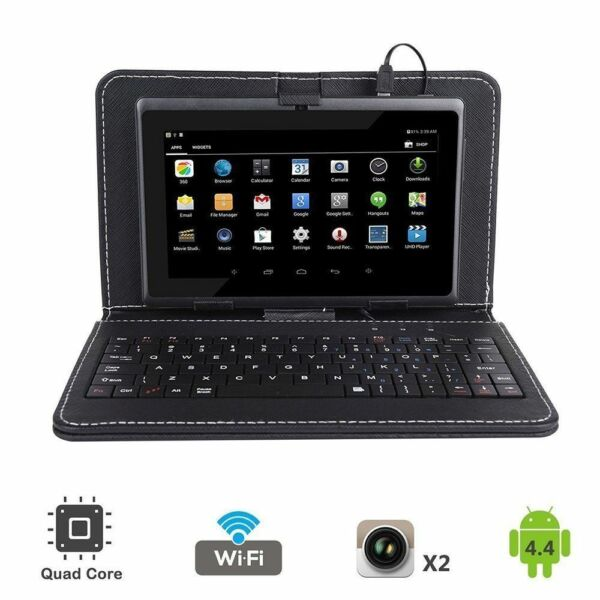 7'' inch Quad Core HD Android 4.4 Tablet Dual Camera WiFi Bundled Keyboard
