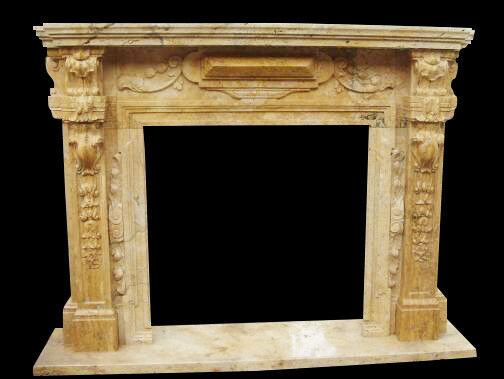 Great Marble Fireplace Mantel in Travertine Marble Tuscan Old World Design
