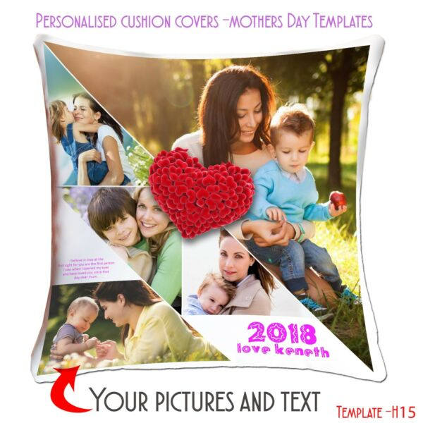 Personalised Custom Cushion Cover Mothers Day desinPicture Collage Template MHC GBP 11.45