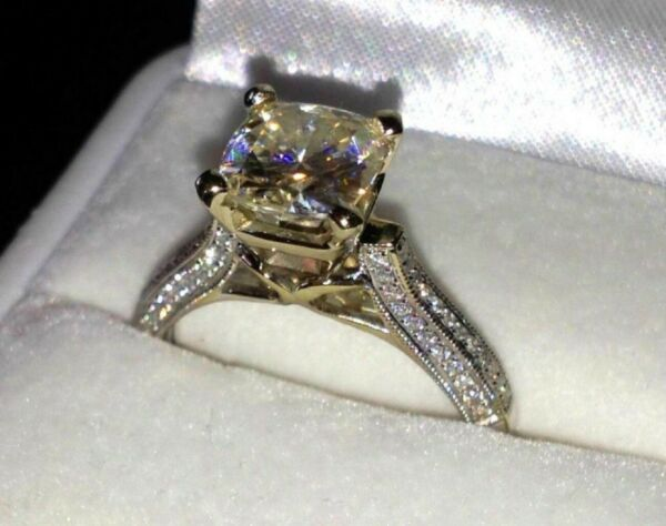 14K White gold 2.45ct Lab created Solitaire Anniversary Engagement Ring
