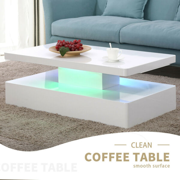 Modern High Gloss White LED Coffee Table w/ Remote Control Living Room Furniture