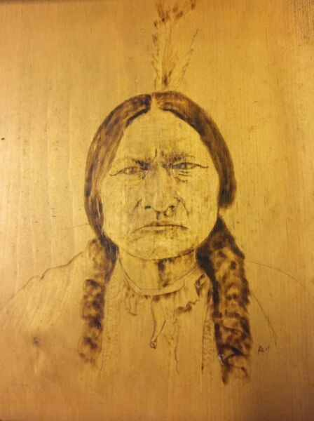 Pyrography Vintage Portrait Wood Burning American Indian Chief Sitting Bull