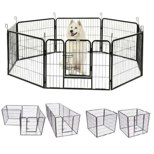 8-Panel Heavy Duty Metal Cage Crate Pet Dog Playpen Exercise Pen Fence Kennel