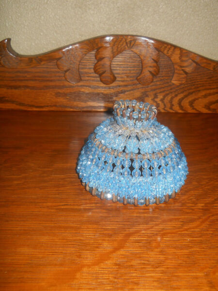 VTG TRAMP ART HANDMADE BLUE BEADED CRYSTAL SILVER SAFETY PIN CANDLE LAMP SHADE