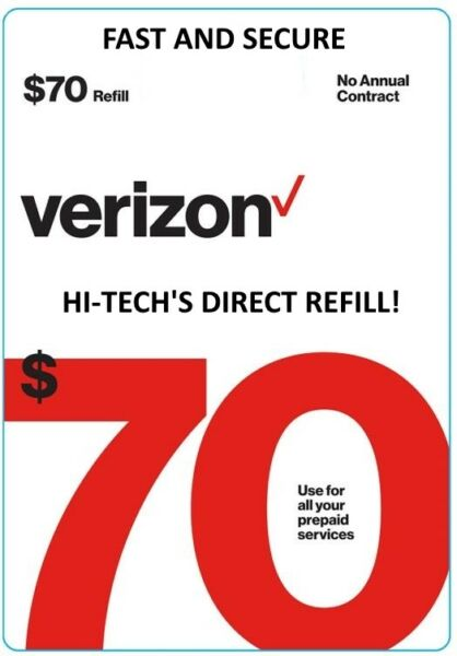 $70 VERIZON PREPAID gt; FASTEST lt; ONLINE REFILL gt; DIRECT TO YOUR ACCOUNT $74.75