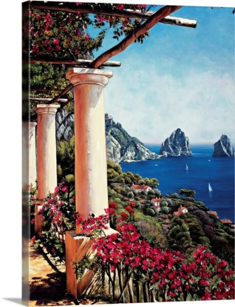 Pergola in Capri Canvas Wall Art Print Home Decor
