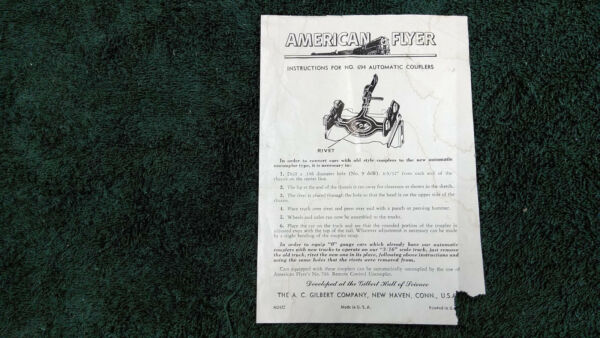 AMERICAN FLYER # M2422 # 694 AUTOMATIC COUPLER INSTRUCTIONS PHOTOCOPY $5.00