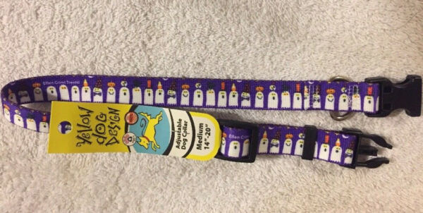 Purple w White Ghosts Size Medium Dog Collar 14quot; 20quot; by Yellow Dog Design $8.95