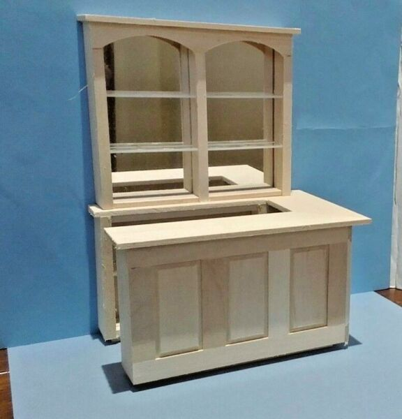 Dollhouse Miniature Small Pub Bar amp; Mirrored back set unfinished basswood 1:12