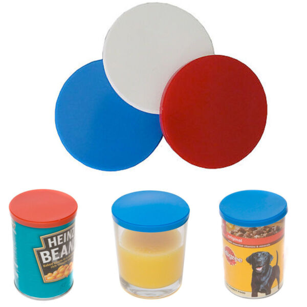 3 Can Covers Tin Covers Fits Standard Sized Cans Plastic Lid Cat Dog Pet Covers GBP 2.50