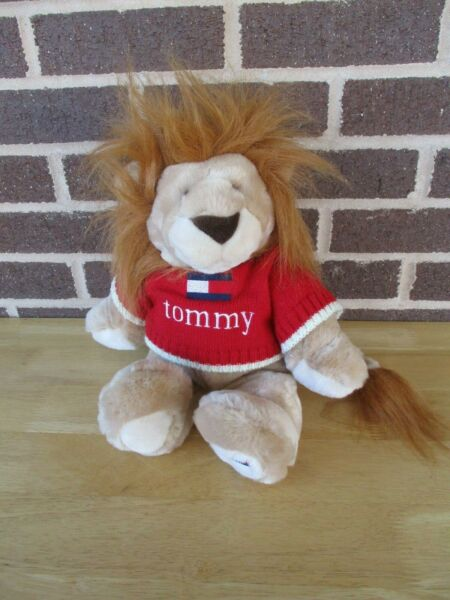 2001 Tommy Hilfiger Lion Wearing Red Tommy Sweater Plush Stuffed 14quot; $17.50