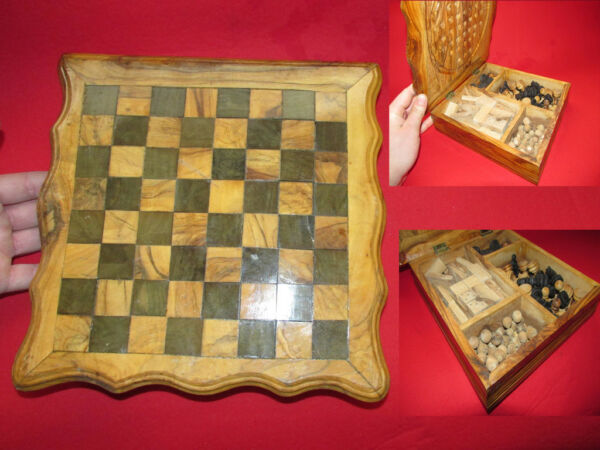 VTG hand made wooden casket box chess board dominoes checker backgammon set game