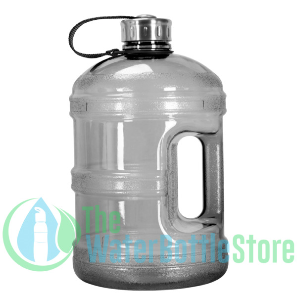 1 Gallon BpA Free Reusable Water Bottle Jug Stainless Steel Cap Handle Black New