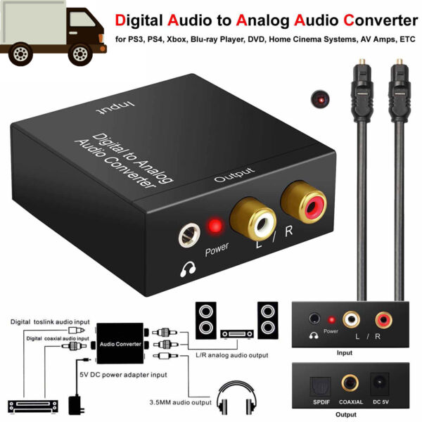 Optical Coax Toslink Digital to Analog Converter RCA LR  Stereo Audio Adapter