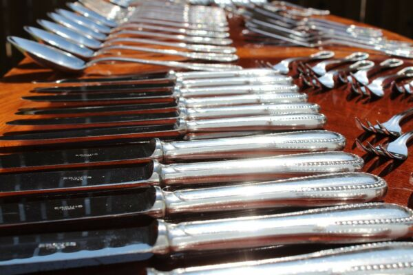 ERCUIS Perles Silver Plated 54 Pieces Full Service Flatware Set
