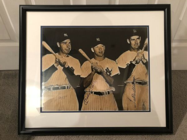 Joe DiMaggio Mickey Mantle Ted Williams Autographed 16x20 Framed