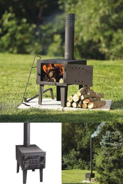 Small Outdoor Wood Burning Stove Fireplace Steel Heater Burner Pipe Camping Cook