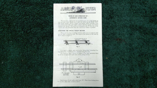 AMERICAN FLYER M3396 AUTOMATIC ACTION CAR OPERATING INSTRUCTION PHOTOCOPY $5.00