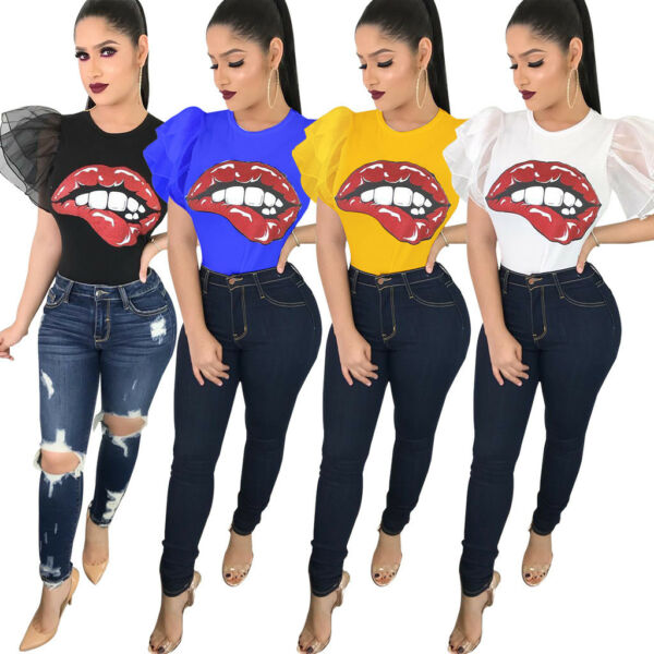 Women short sleeves bubble sleeves big mouth print casual club party shirt tops