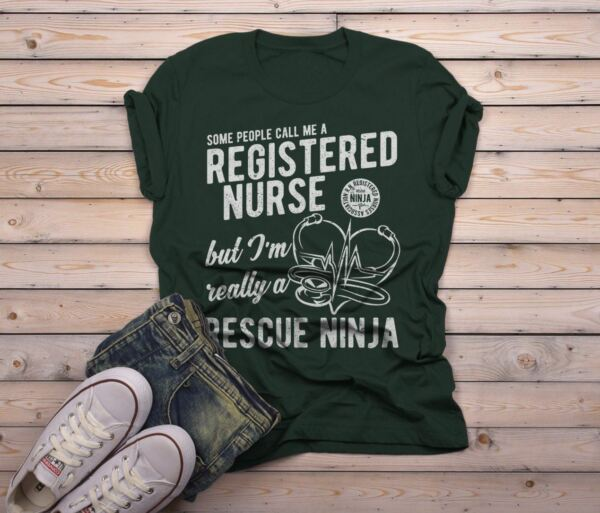 Men's Funny RN Nurse T-Shirt Rescue Ninja Shirt Registered Nurses Shirt
