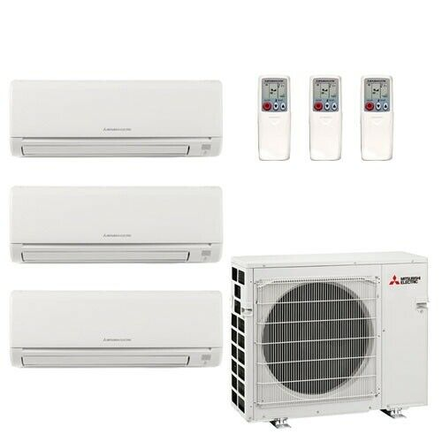 Mitsubishi 25K BTU 20 SEER Wall Mounted Tri Zone Mini-Split Heat Pump System
