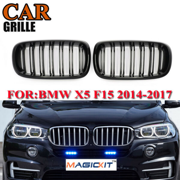For BMW 2014 2017 F15 F16 X5 X6 Gloss Black Front Sport Double Line Grill Grille