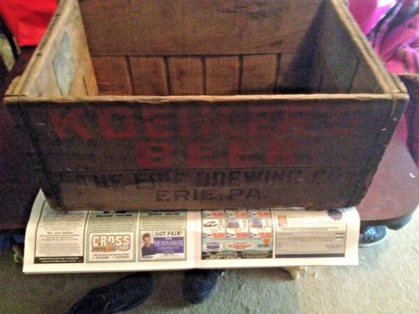Koehler Beer Erie Brewing Co. Wood Shipping BEER Crate Rare